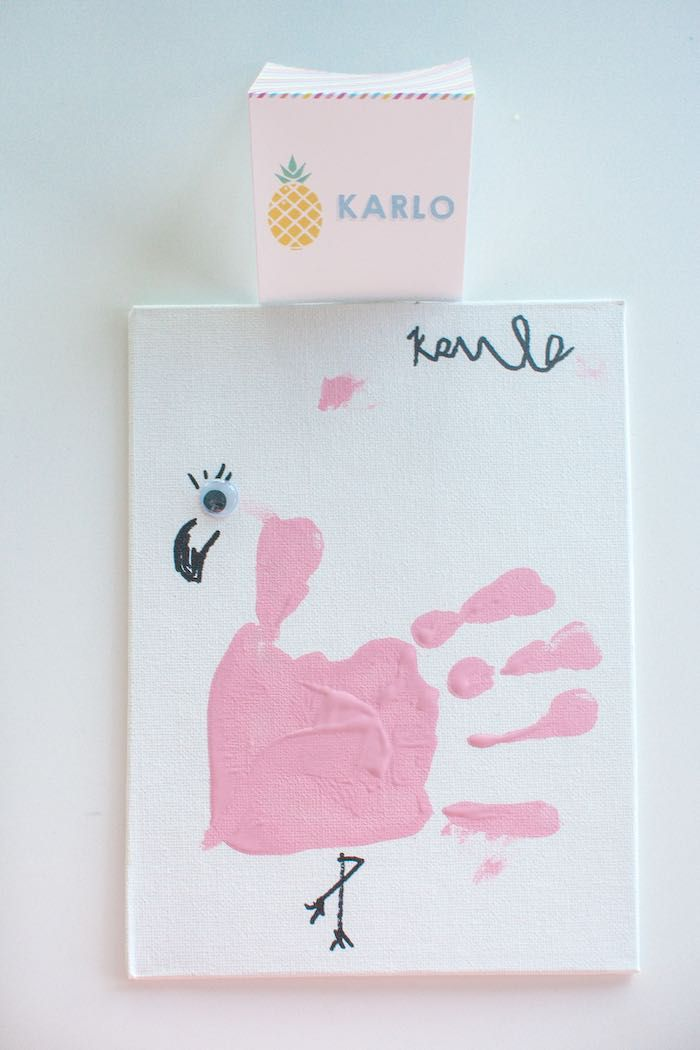 Handprint Flamingo from a Let's Flamingle! Flamingo Birthday Bash via Kara's Party Ideas | KarasPartyIdeas.com | The Place for All Things Party! (4)