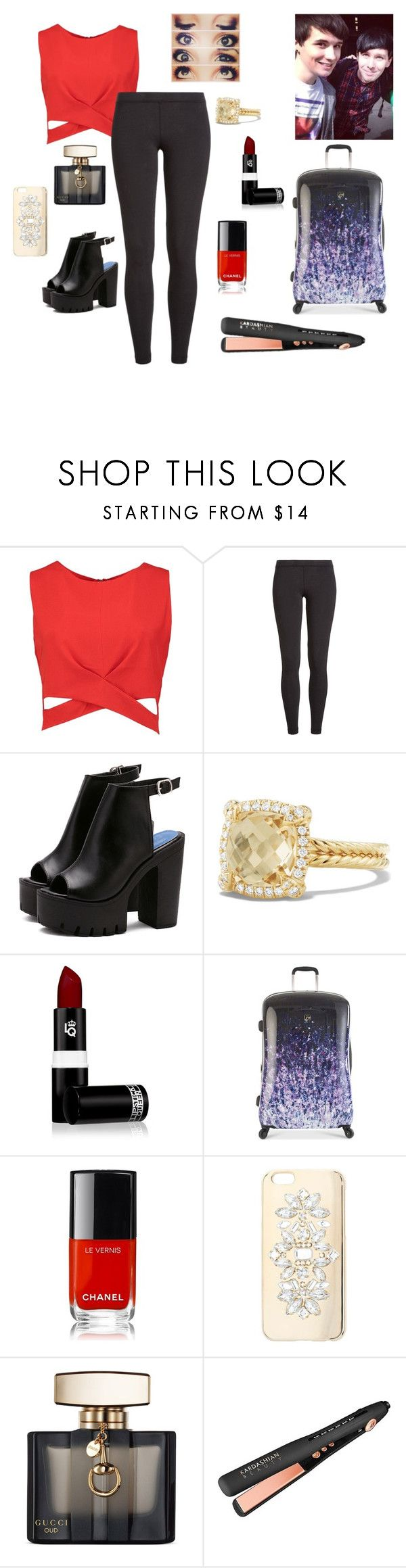 """""""Flying To London To Visit Dan & Phil and E3~The Boy With The Cat Whiskers"""" by gravityfallsgirl33 ❤ liked on Polyvore featuring Boohoo, James Perse, David Yurman, Lipstick Queen, Heys, Chanel, Miss Selfridge and Gucci"""