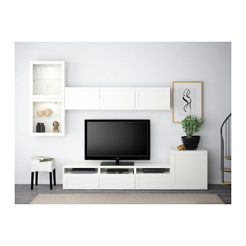 BESTÅ TV storage combination/glass doors - Hanviken/Sindvik white clear glass, drawer runner, soft-closing - IKEA