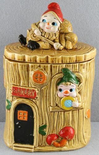 Vintage Ceramic Cookie Jar Elves Pixies in A Bakery Tree Stump Probably Japanese | eBay