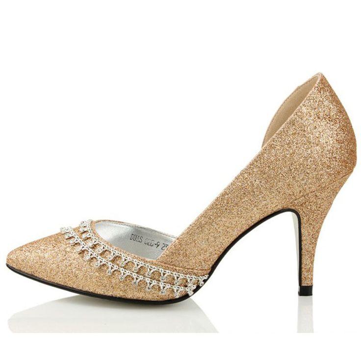 Glitter Strass Hochzeit Kleid Schuhe Champagner Farbe High Heel Spitz Brautkleid Schuhe Dame Kleid Schuh Frühling Schuh //Price: $US $90.20 & FREE Shipping //     #dazzup