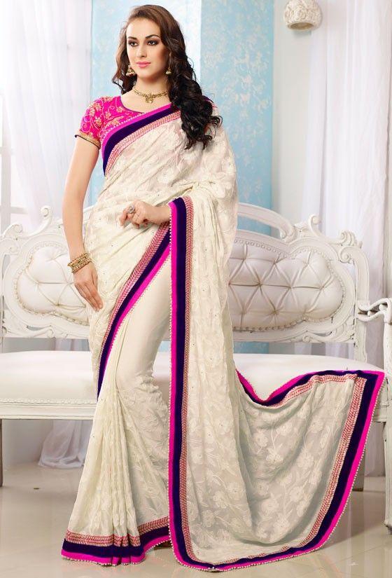 Exquisite Off White Saree - Sarees - Women