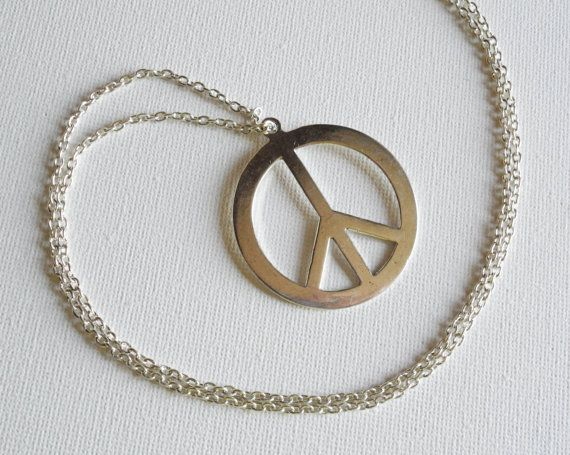 Peace Sign Necklace / Long Silver Peace Sign by KATcustomDESIGNS, $13.75
