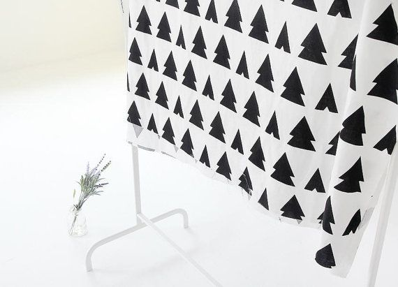 * 100% Cotton Woven * Color: Black Trees on White * For pattern size, please see the second picture. * Fabric size: 1 Yard = 110 cm wide x 90 cm long