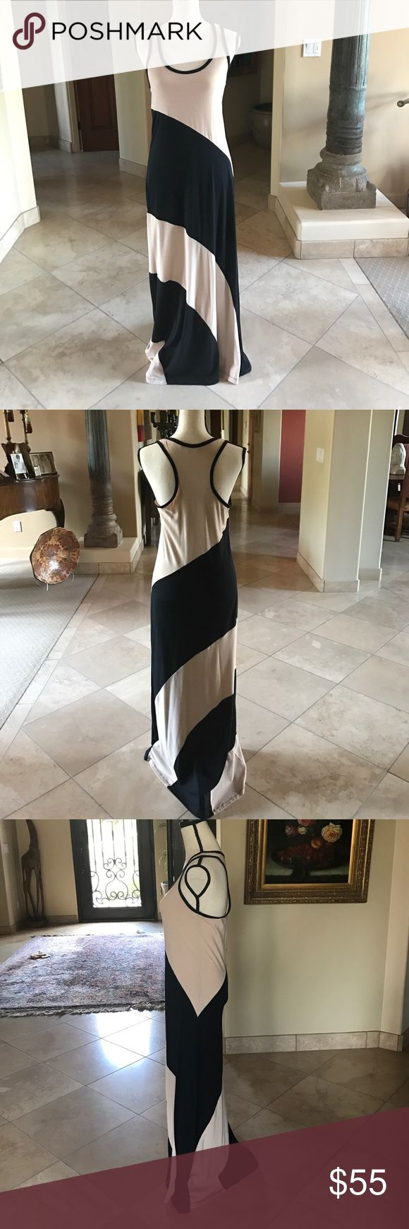 """Anatomie Maxi Dress Anatomie 2 tone black and camel maxi dress. Extremely flattering in. Bleach color hits in all the right places. I am 5'8"""" and the dress just skims the floor. Slight pilling on front. Anatomie Dresses Maxi"""