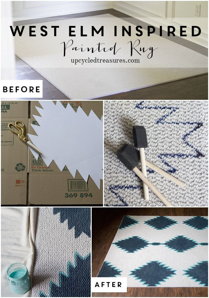 DIY Painted Rug Inspired by West Elm | UpcycledTreasures.com #DIY #rug