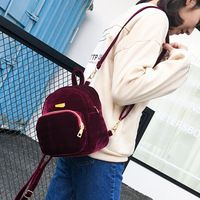 2017 HOT Women's Backpack Teenage Girl Mochilas Shoulder Bag Sweet Lady Mini Velvet Backpack For travel 2 Colors