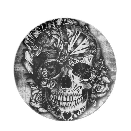 Grunge Candy sugar skull in black and white. Dinner Plate ...