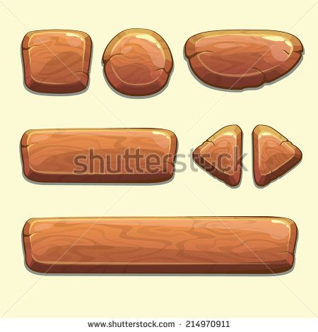 Set of cartoon wooden buttons with different shapes, vector gui elements - stock vector