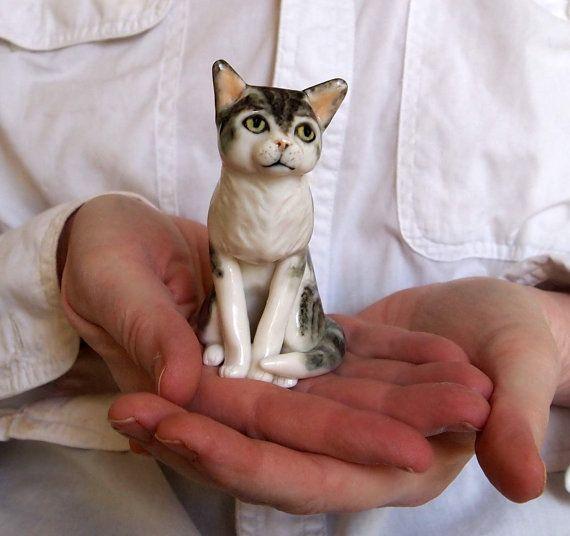 HAND SCULPTED Tabby Cat Figurine porcelain ceramic by AnitaReayArt