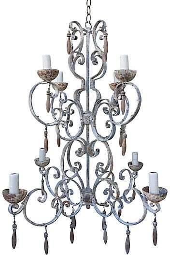 One Kings Lane Vintage Eight-Light Painted Italian Chandelier