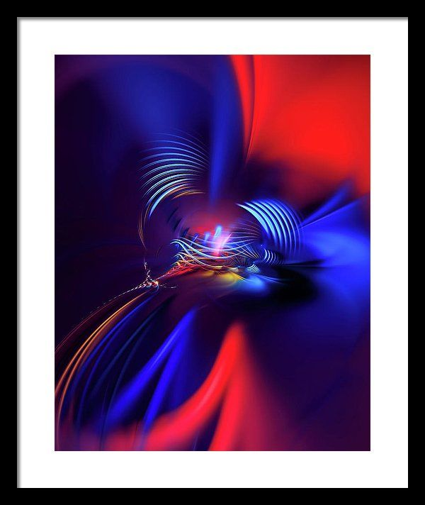 Abstract Background Framed Print featuring the digital art Red Ribbon by Marfffa Art