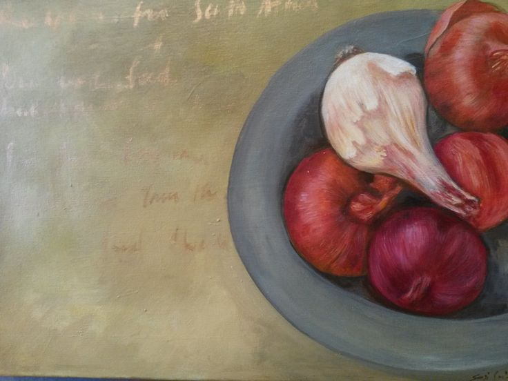 """Onions on plate"" Acrylic on canvas"