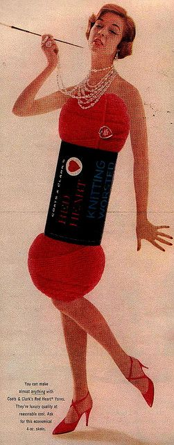 Old knitting advertisement from McCall's: Woman in Yarn Skein Dress by saltycotton, via Flickr