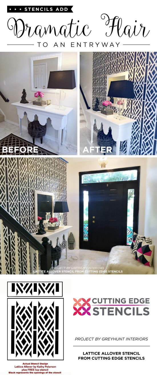 Cutting Edge Stencils shares a DIY entryway makeover with a stenciled accent wall using the Lattice Allover wall pattern. http://www.cuttingedgestencils.com/lattice-stencil-kathy-peterson.html