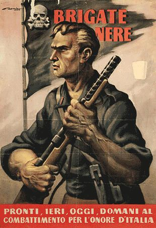 "Italian Fascist propaganda poster from World War II. The caption reads ""Ready yesterday, today, and tomorrow to fight for Italy's honor"""