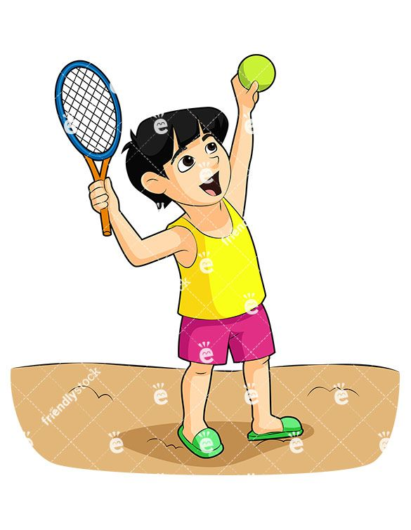 A Black-Haired Boy Playing Tennis, Holding A Racket And Tennis Ball: Royalty-free vector illustration of a black-haired boy playing tennis, holding a racket and tennis ball. He's standing on sand at the beach wearing sandals. #kids #beach #summer #boys #friendlystock #graphic #vector #clipart