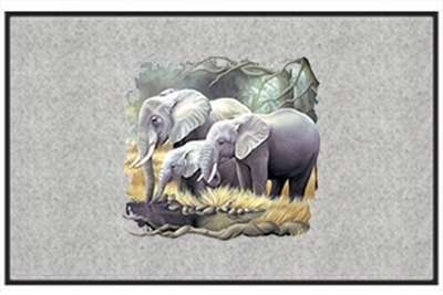 "Elephant Family - Exotic Animal - Gray - Door and Welcome Mat by Express Yourself Mats. $24.88. Personalization Available (choose above) - EMAIL TEXT TO SELLER AFTER CHECKOUT. Door Mat Size 27""x18"". Great Gift Idea!. Made in USA. Non-Skid Backing. Enjoy the Elephant Family design heat pressed on this light-weight, low pile, woven polyester door mat. This decorative welcome mat measures 27 x 18 inches, is 1/8 inch thick and features a non-skid latex coating on t..."