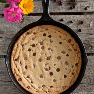 Skillet Chocolate Chip Cookie - possibly the best skillet cookie you'll ever eat, with a secret ingredient! Who doesn't love a giant cookie?