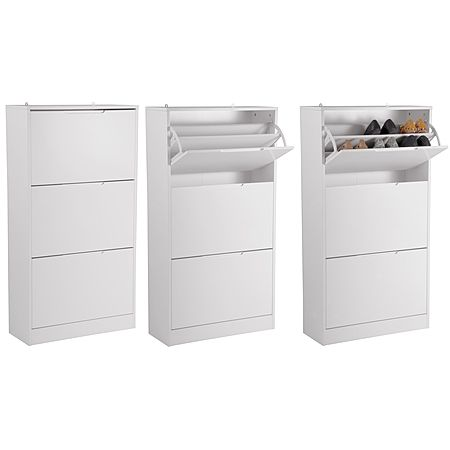 Sort It Ally Shoe Cabinet White 3 Drawer - Storage Furniture - Furniture - The Warehouse