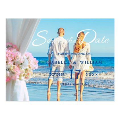 Elegant Floral Ocean Beach Couple Save the Date Postcard - bridal shower gifts ideas wedding bride