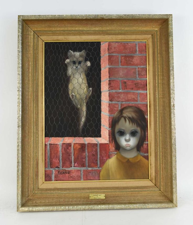 Margaret Keane painting, big-eyed cat and girl