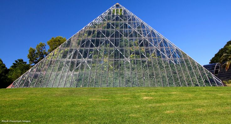 Botanical Gardens Sydney, Glasshouses: - Large pyramid glass house with surrounding smaller glasshouses. Quite interesting inside