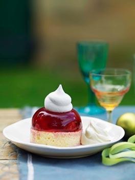 Raspberry Jelly / Jello Almond Cake topped with Armaretto Whipped Cream