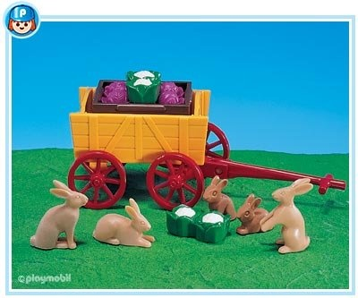$19.99 Playmobil Bunnies with Wagon  From PLAYMOBIL®   Get it here: http://astore.amazon.com/toys4kids09-20/detail/B000N7CD5A/186-4678595-8875665