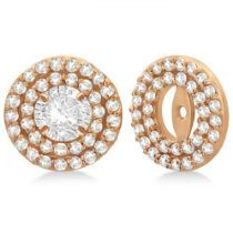 Double Halo Diamond Earring Jackets for 9mm Studs 14k Rose Gold (0.85ct)