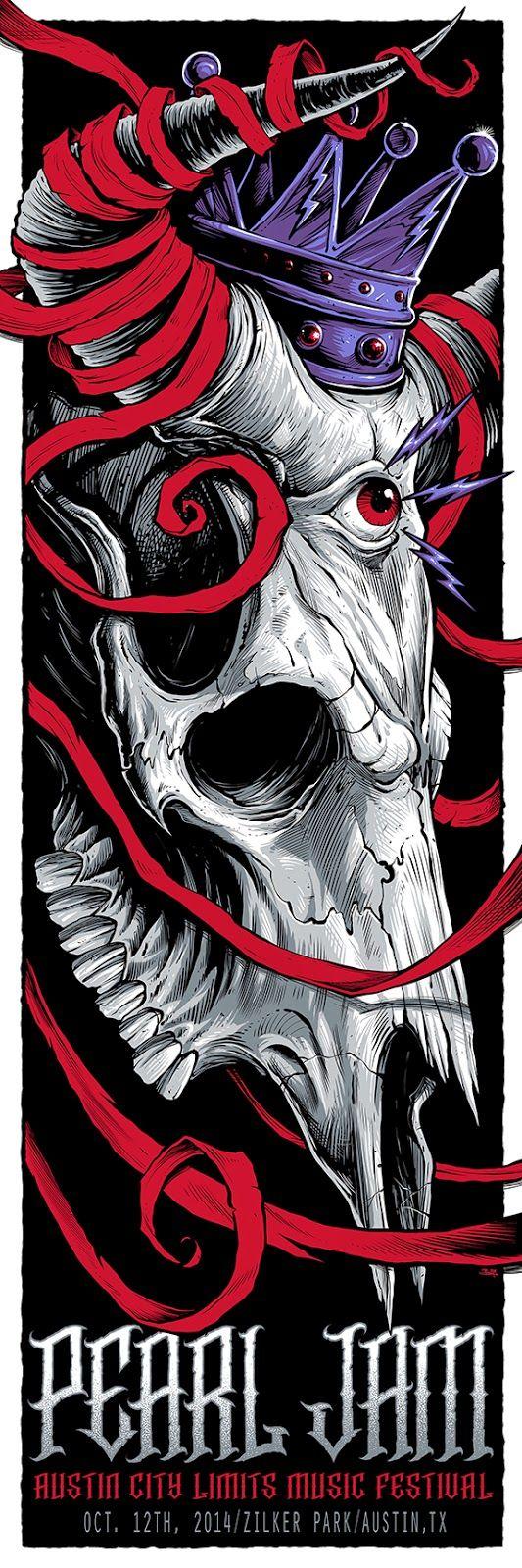 INSIDE THE ROCK POSTER FRAME BLOG: Pearl Jam Brandon Heart Austin City Limits Poster AP Sale & F4Dreams Poster Sale