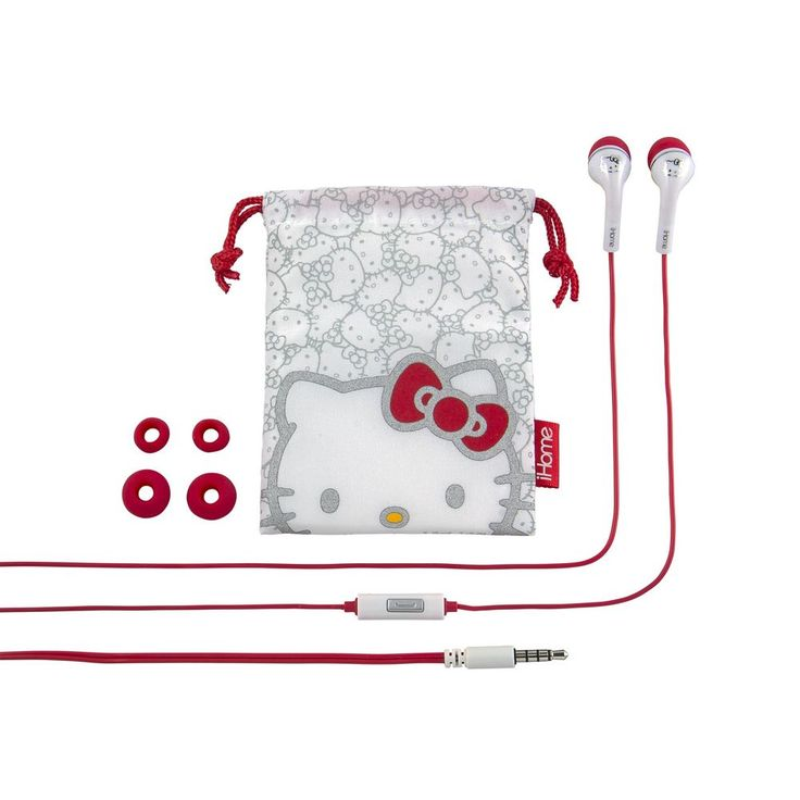 iHome Hello Kitty Noise Isolating Earbuds with In Line Microphone and Protective #KIDdesigns