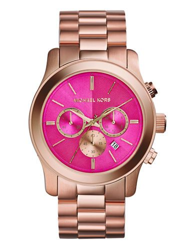 MICHAEL KORS Rose Gold Tone Runway Watch with Pink Dial - PINK http://1tagdeals.com/fashion/shop/michael-kors-rose-gold-tone-runway-watch-with-pink-dial-pink/