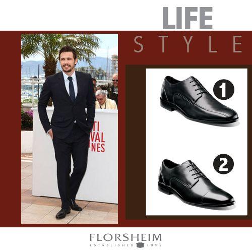 ¿Qué calzado elegirías para combinarlos con un atuendo como el de James Franco?  1. Calzado 'Jet Bike Toe' de Florsheim.  2. Calzado 'Jet Cap Toe' de Florsheim.