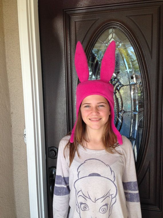 Pink Bunny Ears Hat Made with fleece inside and out by SewLA1
