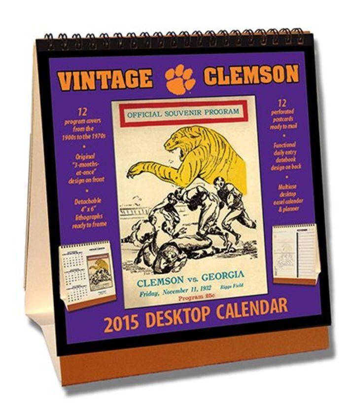 Clemson Tigers 2015 Easel Desktop Vintage Football Calendar