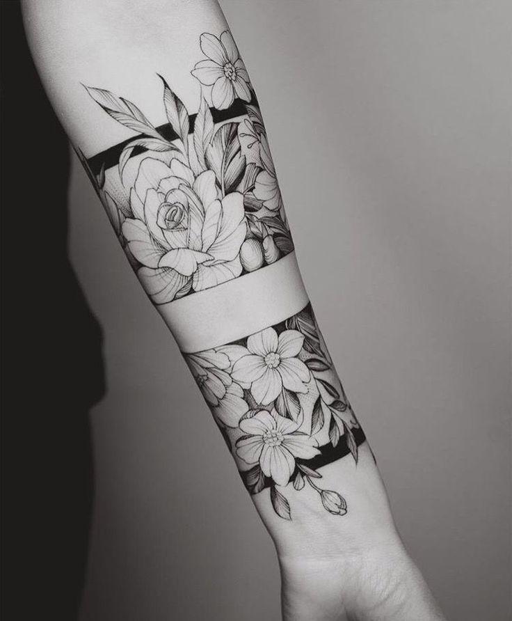 Floral forearm tattoo #TattooIdeasForearm #FlowerTattooDesigns