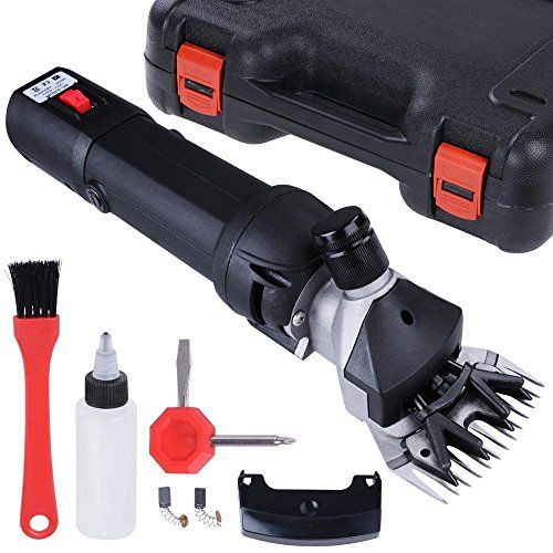 Professional Power Electric Sheep Shear Goat Shave Animal Grooming Clipper Machine Kit w/ Storage Case Black 380 Watts 2500 RPM 120 Volts for Appliances Care Hair Fur Carpet Clipping *** For more information, visit