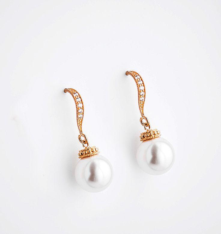 Swarovski Pearl Chandelier Earrings, Crystal Bridal,Bridesmaids jewelry  JUDITH