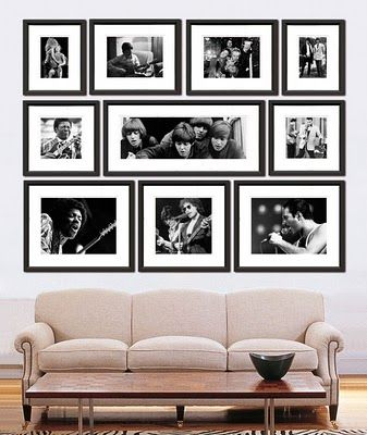 Love this photo display with simple black frames and white mattes i enjoy how everything