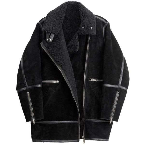 Pre-owned H&m Nwt Studio Collection Suede Pile Lined Pilot Jacket /... found on Polyvore featuring outerwear, coats, jackets, black, slim fit coat, suede fur coat, black coat, h&m coats and fur coat
