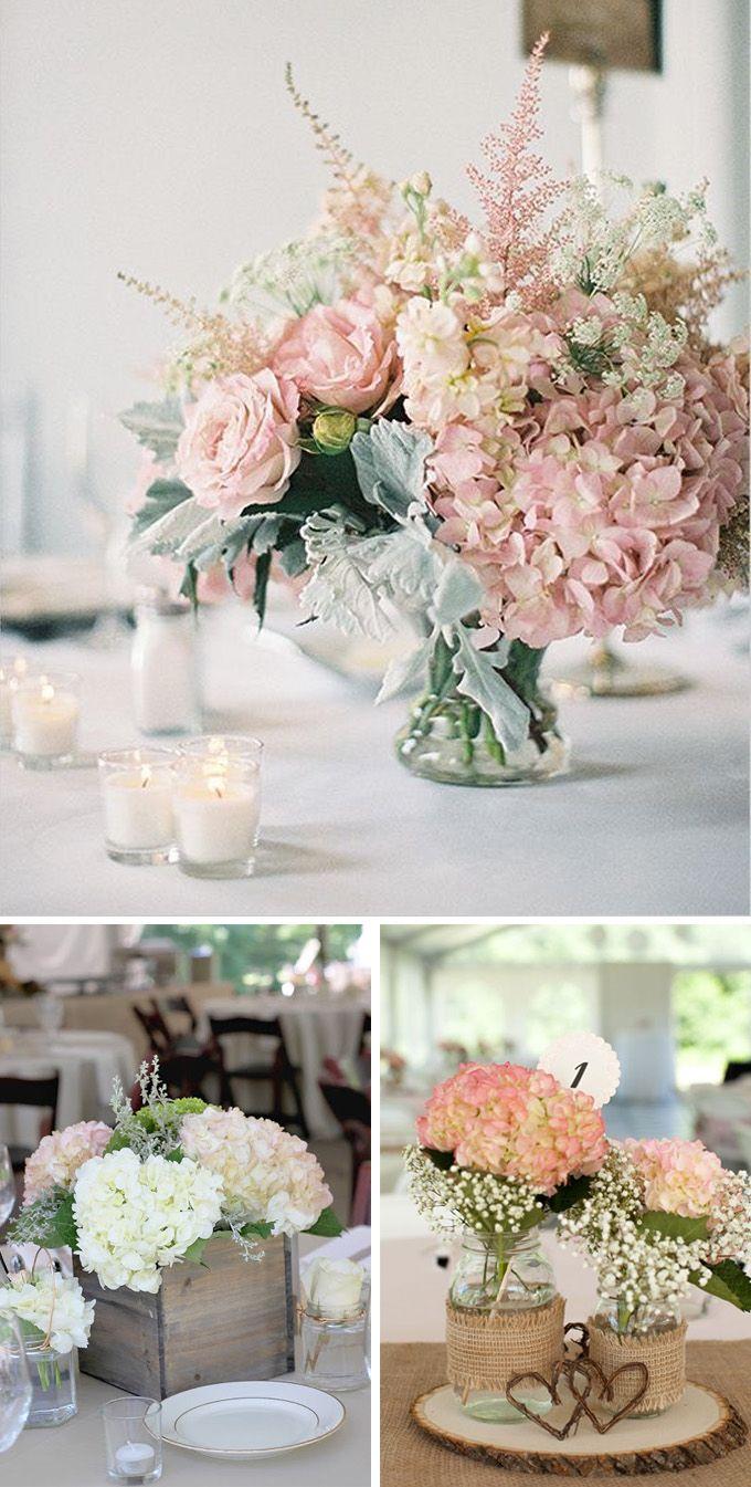 M s de 25 ideas incre bles sobre centros de mesa de - Decoracion con hortensias ...