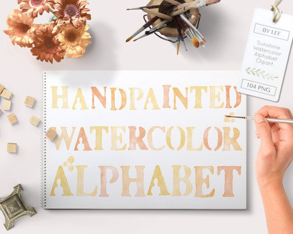 By Lef graphics on Etsy Alphabet clipart Watercolor (104 pc) yellow orange tangerine sunny. hand painted clip art letters for designing cards printables wallart etc by ByLef