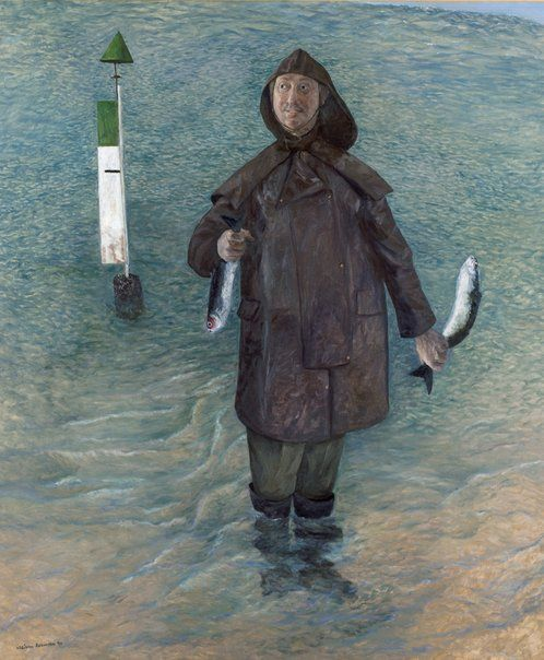 William Robinson: Self Portrait With Stunned Mullet :: WINNER Archibald Prize 1995 :: Art Gallery NSW