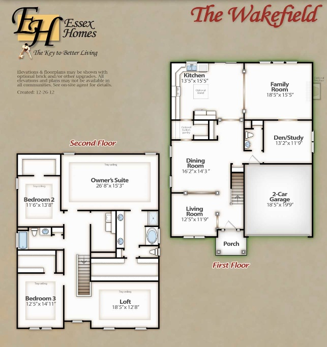 The Wakefield First Second Floor Check out the Interactive Plan – Essex Homes Floor Plans