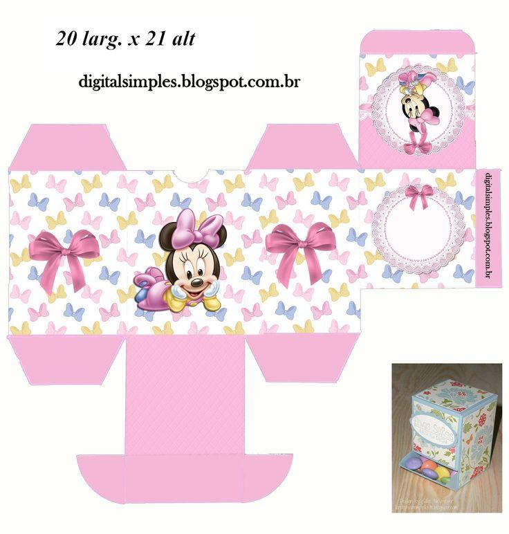 "Convites Digitais Simples: Kit de Personalizados ""Minnie Mouse Baby"" para Imprimir"