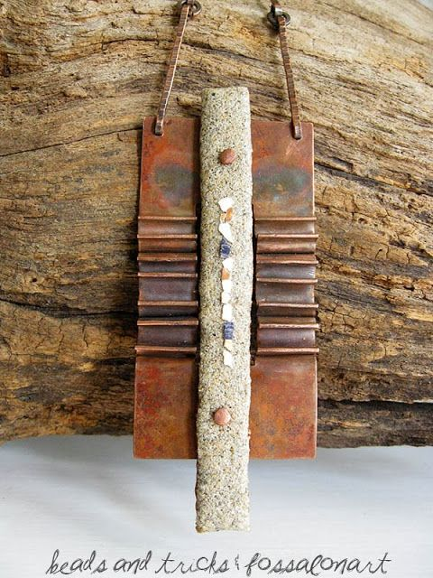 Foldformed necklace, copper, hemp twine, sand, seashells' chips | Handmade by Beads and Tricks and FossalonArt