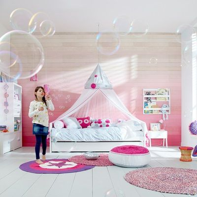 IBIZA BLOOM GIRLS BED WITH CANOPY AND PULLOUT BED