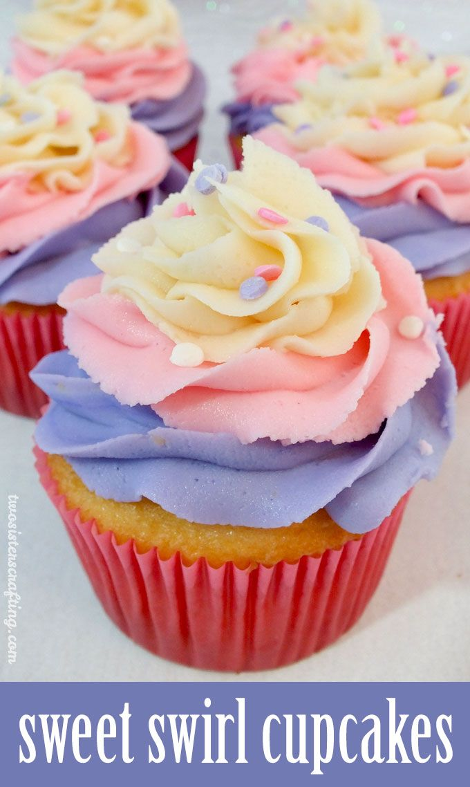 Oh my goodness, we just love the way these Sweet Swirl Cupcakes turned out. They are so yummy and so pretty.  They would be a great dessert idea for Mother's Day, Easter, Brunch or even a Doc McStuffin's Birthday Party. For more fun Cupcake ideas, follow us at https://www.pinterest.com/2SistersCraft/