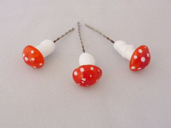 Toadstools mushrooms for terrarium potted plants by ChrysArtGlass
